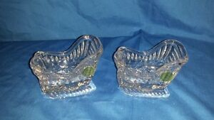 Princess house lead crystal sleigh candle stick holders #700