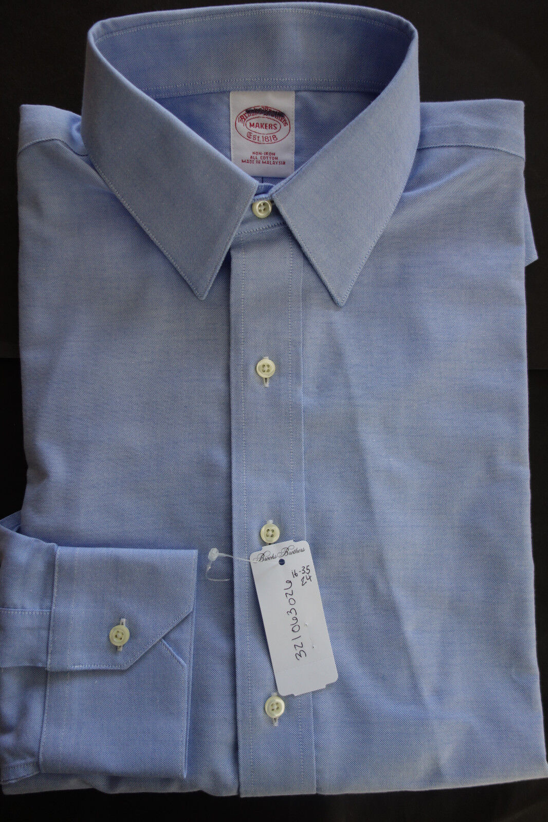 NWT Brooks Bredhers bluee Oxford Non Iron Point Collar Shirt 16-35 MSRP