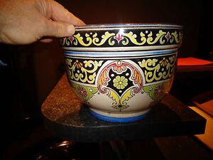 Superbe-ancien-gros-cache-pot-decor-Frise-Renaissance-Safi-Poterie-Maroc