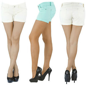 Damen-Hotpants-Hot-Pants-Jeans-Shorts-Kurze-Hose-Capri-Hueft-Stretch-Weiss-Blau