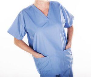 MEDICAL-SCRUB-TUNIC-TOP-BLACK-BLUE-GREEN-NAVY-UNISEX-HOSPITAL-HEALTHCARE-XS-XXL
