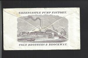 GREENCASTLE-INDIANA-1873-ILLUST-BANKNOTE-COVER-COLE-amp-BROCKWAY-PUMP-FACTORY