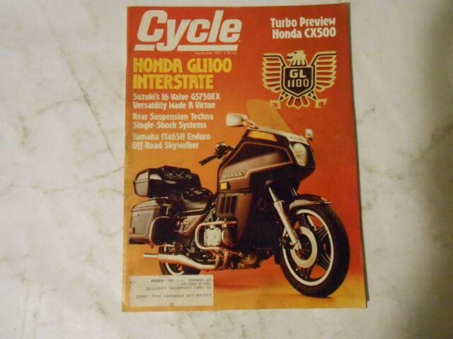 SEPTEMBER 1981 CYCLE MAGAZINE,HONDA GL1100,SUZUKI GS750EX,YAMAHA IT465H,CX500 HO