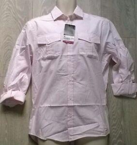 BURTONS-Mens-pink-white-stripe-trendy-smart-shirt-Size-S-M-L-XL-NEW-BURTON