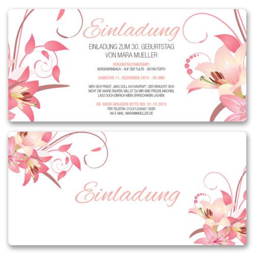 Einladungskarten zum Geburtstag als Eintrittskarte Ticket Einladung Karte Blumen