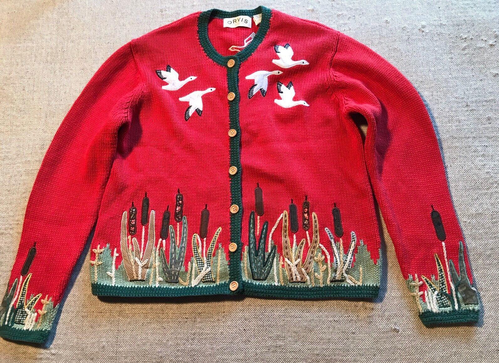 ORVIS Cardigan Sweater Desert Desert Desert Cactus Birds Embroidery Hand Knit Size L Womens  I 6c4d8f