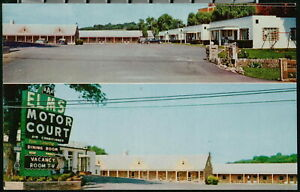 WINCHESTER VA Elms Motor Court Vintage Virginia Motel Postcard Old Cars