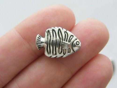 BULK 30 Fish spacer beads antique silver tone FF3