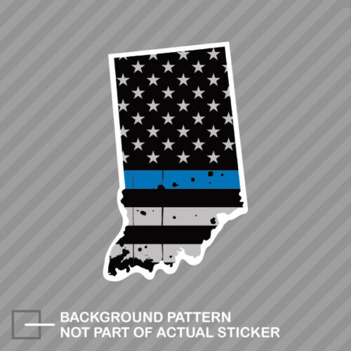 Distressed Thin Blue Line Indiana State Shaped Subdued US Flag Sticker police IN