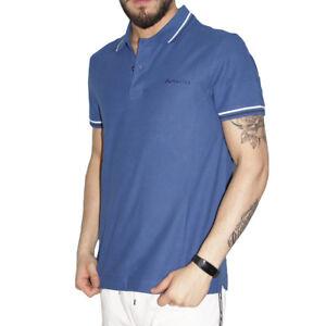 Polo-Uomo-Lotto-Sport-Cotone-Maniche-Corte-Colletto-T-Shirt-Blu-Tinta-unita-Riga