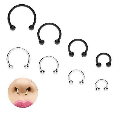 Fake Lip Ear Nose Cartilage Septum Ring Hoop Stud Bead No Piercing 16G 8/10/12mm
