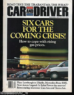 Car and Driver December 1990 Trabant 601, Lamborghini Diablo, Mercedes-Benz 500E
