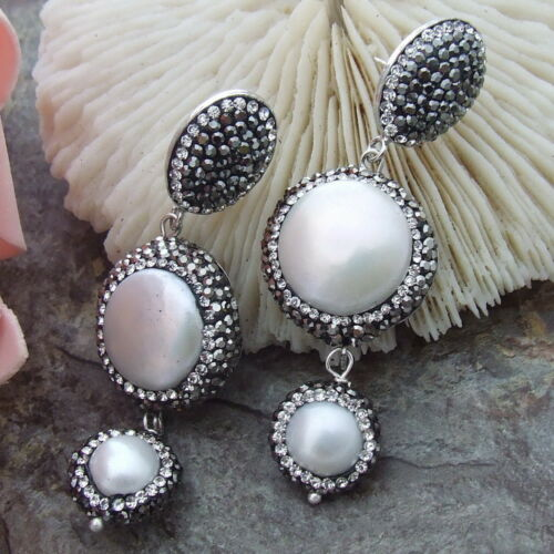 AB072114 15mm White Coin Pearl Earrings