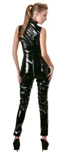BLACK LEVEL Tuta in PVC vinile Nero Collo Alto con Cerniera Zip a 2 Vie al Pube