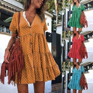 New-Women-039-s-Summer-V-Neck-Polka-Dot-Button-Short-Sleeved-Party-Loose-Mini-Dress