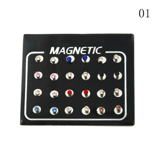 12 pairs Fashion Mixed Color Magnets Earrings No Piercing Ear Stud 3//4//5//6mm BH