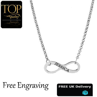 Infinity Style Pendant Personalised Name Necklace,  Silver Plated, Gift, UK
