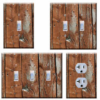 Light Switch Plate Cover Wall Home Decor Rustic Image Of Brown Wood Planks