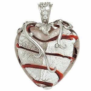 Anhaenger-Herz-weiss-rotes-Glas-mit-925-Sterling-Silber-und-Zirkonia-Herzanhaenger