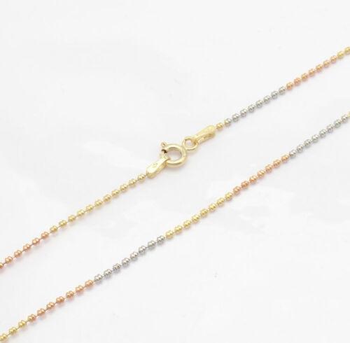 "20/"" Technibond Fancy Bead Ball Chain Necklace 14K TriColor Gold Clad Silver"