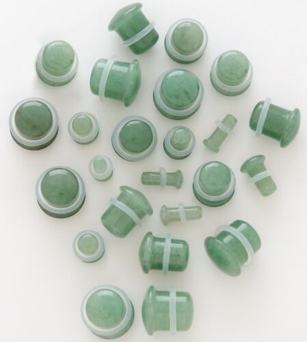 """Pair Organic Jade Aventurine Single Flares Stone Plugs 8G 6G 4G 2G 0G 00G 1//2/"""""""