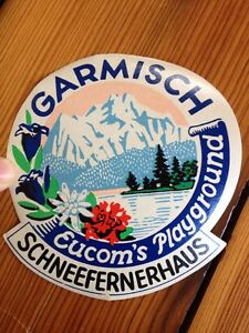 GARMISCH GERMANY CLAUSINGS POSTHOTEL VINTAGE LUGGAGE LABEL