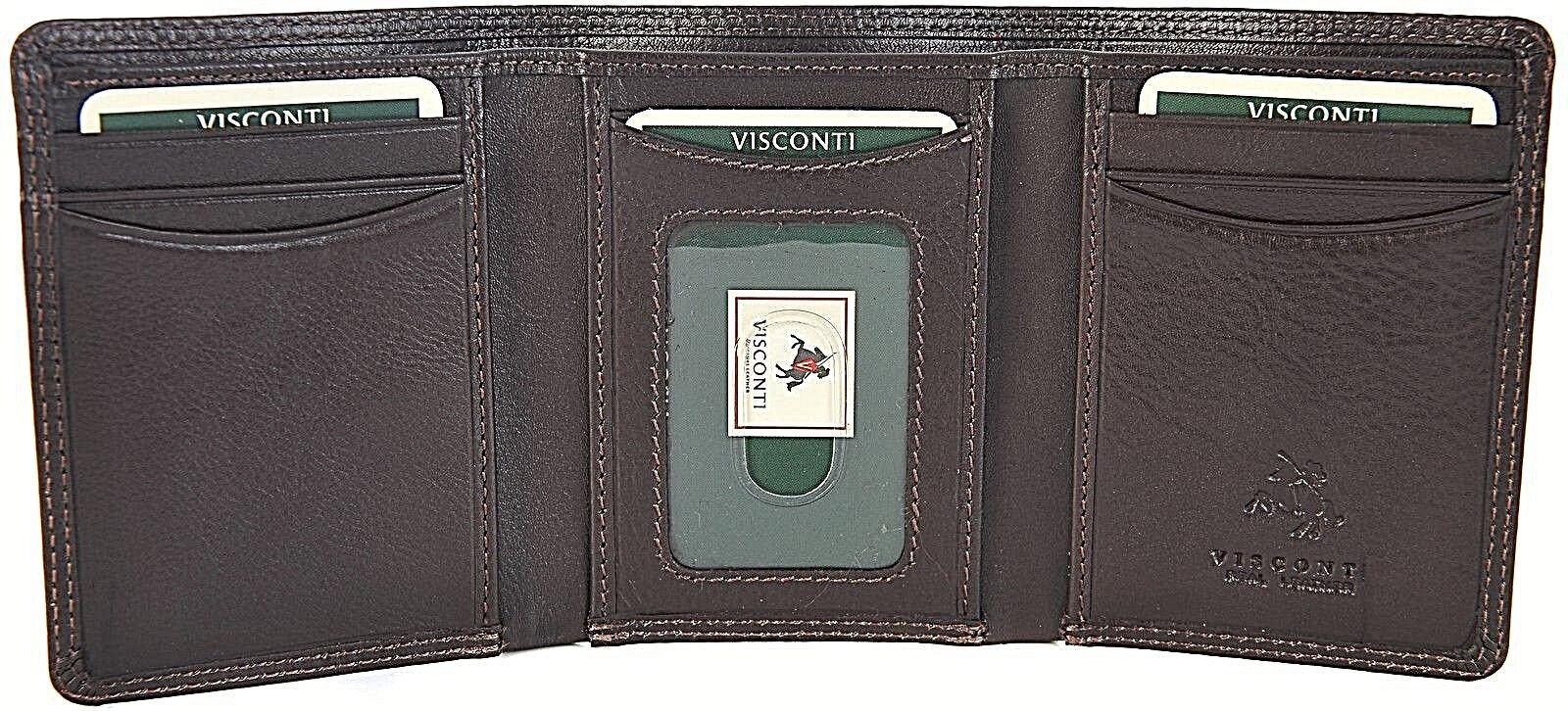 1287992913be Visconti Luxury Soft Leather Dark Brown Trifold Mens Wallet Ht-18 ...