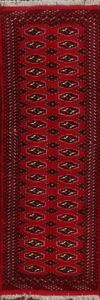 Geometric-Hand-Knotted-Bokhara-Oriental-Wool-Runner-Rug-Traditional-Carpet-2-039-x6-039