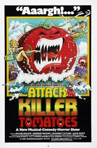 """Attack Of the Killer Tomatoes- Canvas print Vintage movie poster  - 12x8"""""""