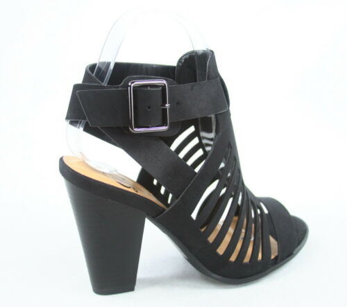 Femme Peep Toe Strappy Caged Chucky Talon Cheville Bootie Sandale Taille 5-10 NEUF