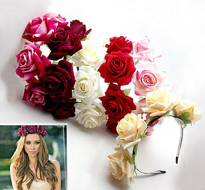 Handmade Floral Crown Rose Flower Headband Hair Garland Wedding Headpiece
