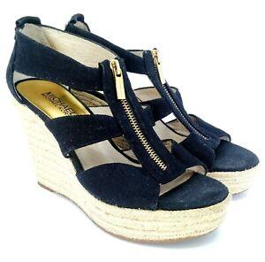 Michael-Kors-Damita-Sandal-Womens-Sz-7-M-Blue-Zip-Platform-Espadrille-Wedge-Heel