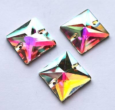 Farben 50 x Acryl Glitzersteine QUADRAT FLACH Rücks verspiegelt 24x24 mm versch