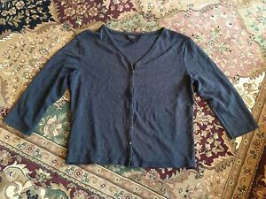 Express-Size-7-8-Button-Down-V-Neck-3-4-Sleeve-Steel-Gray-Blue-Cardigan-Shirt
