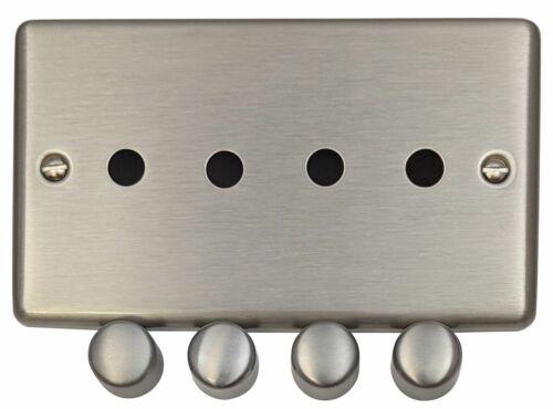 G/&h norme CSS14-PK Plaque en Acier Brossé 4 gang gradateur plaque seulement Inc Boutons