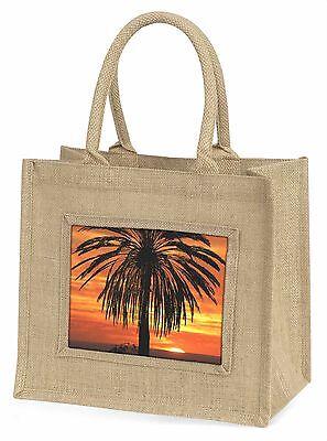 Tropisch Palme Sonnenuntergang Große Natürliche Jute-einkaufstasche Weihnachten