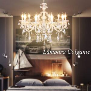 Lámpara Colgante 10 Fuentes Luz E14 Péndulo Araña de Cristal ...