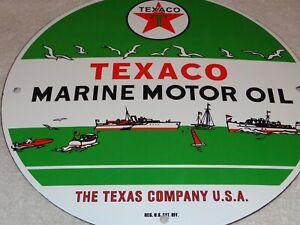 VINTAGE-TEXACO-MARINE-MOTOR-OIL-11-3-4-034-PORCELAIN-METAL-GASOLINE-SIGN-FISH-BOAT