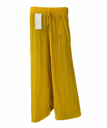 NEW LADIES FLARED PLEATED PALAZZO TROUSERS BAGGY WOMENS WIDE LEG PANTS SIZE10-16