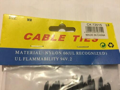 Details about  /100 PK HEAVY DUTY CABLE TIES BLACK NYLON 15 CM LONG 4 MM WIDE FREE POST