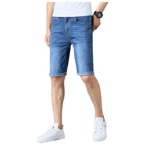 MENS DENIM SHORTS STRETCH SLIM FIT HALF JEANS SUMMER ROLL UP CASUAL SKINNY PANTS