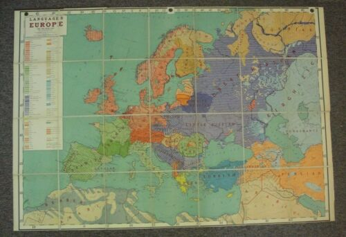 "Large 65"" x 44"" Jastrow Language Maps Of Europe Hard Cover Fold Out Wall Map"