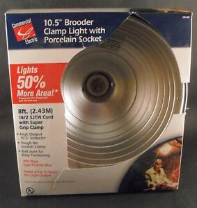 New 10 5 Quot Brooder Clamp Light With Porcelain Socket 300 Watt Commercial Electric Ebay