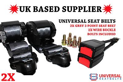 E4 UK. 3M Webbing 2X Universal Grey 3 Point Seat Belts 25 Cm Wire Buckles