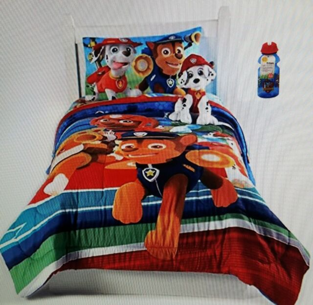 Paw Patrol Reversible Comforter Twin Full Size And Water Bottle