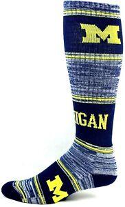 Michigan-Wolverines-NCAA-Navy-Blue-White-RMC-Long-Crew-Socks