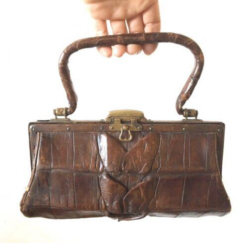 Petite Antique Alligator Handbag Tiny Purse Late 1