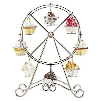 Ferris Wheel 8 Cups Silver Stainless Steel Cupcake Stand Holder Display Wedding
