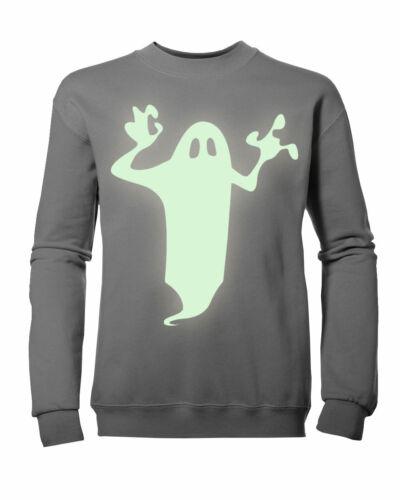 Kids Boys Girls Glow-in-the-Dark Ghost Halloween Sweatshirt NEW Ages 3-11yrs