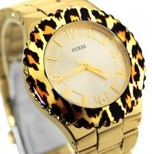 Newest GUESS Luxury Ladies Watch Gold Stainless Steel Leopard U0404L1 USA